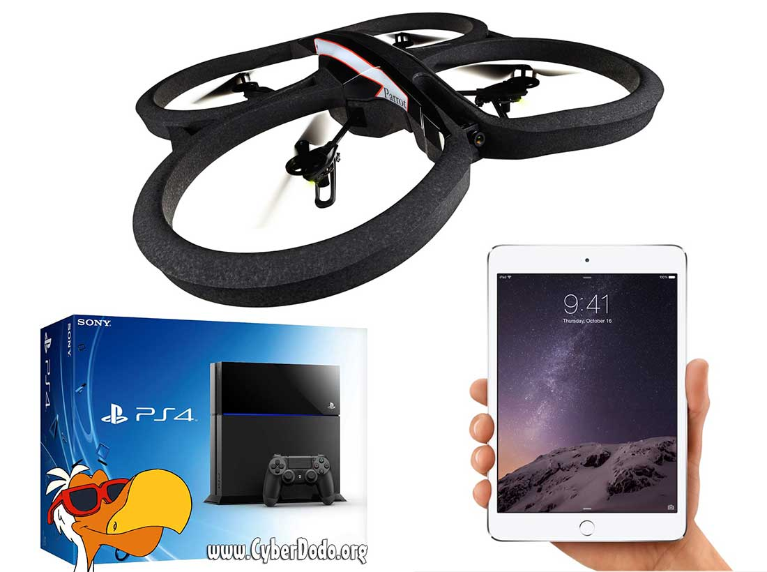 a SONY PS4 game console, a PARROT AR 2.0 drone or an IPad mini tablet!
